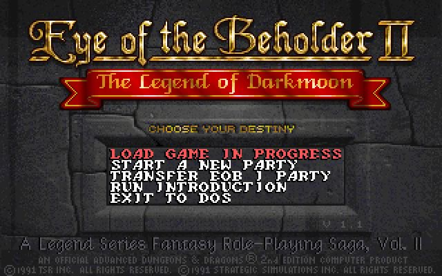 Eye of the Beholder 2: The Legend of Darkmoon splash screen