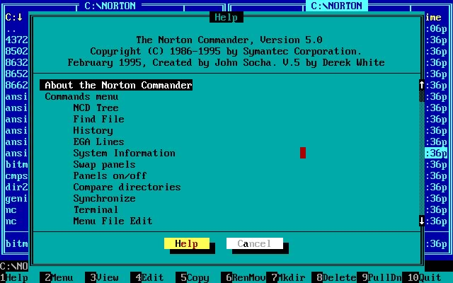 Norton Commander 5.5 splash screen