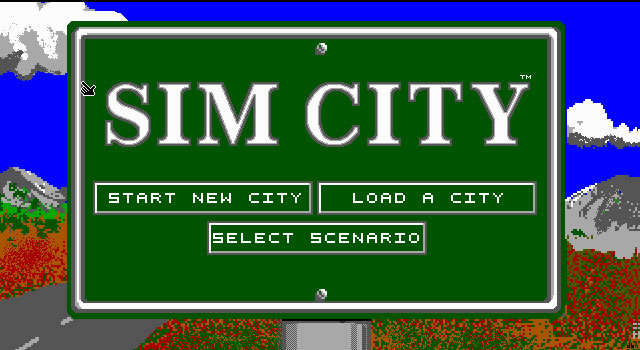 SimCity (a.k.a. SimCity Classic) splash screen