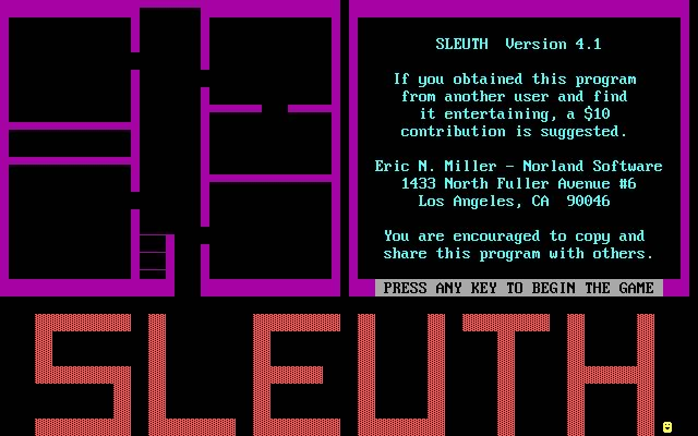 Sleuth: A murder mystery splash screen